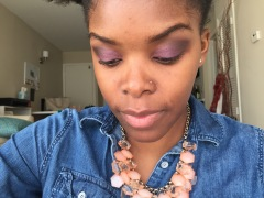 Step 2: I applied a purple MAC eyeshadow on top, and I mixed two brown eyeshadows from MAC and Too Faced in the crease (use windshield wiper motions when applying the brown colors!)